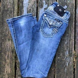 Miss Me Jeans 24x33 Boot Rhinestones Distressed